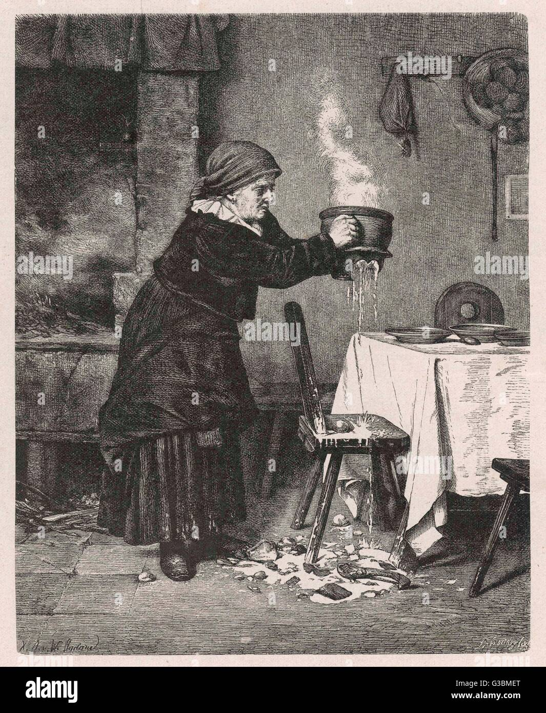 Disaster strikes a Swedish  housewife when her pot of stew  cracks and breaks, spilling  the boiling food on the - Stock Image