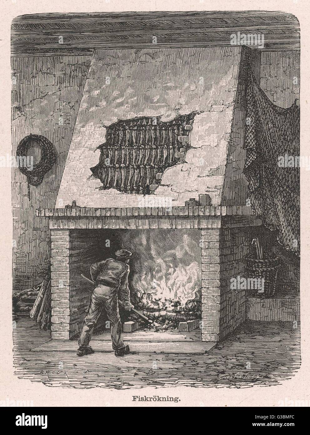 Smoking fish, in France  The fish are hung inside the