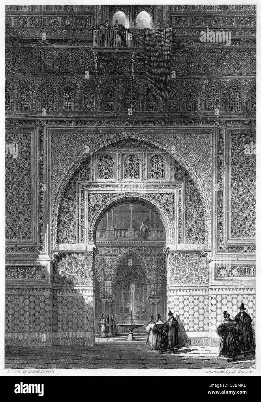 The entrance to the Hall of  Ambassadors in the Alcazar,  Seville        Date: 1835 Stock Photo
