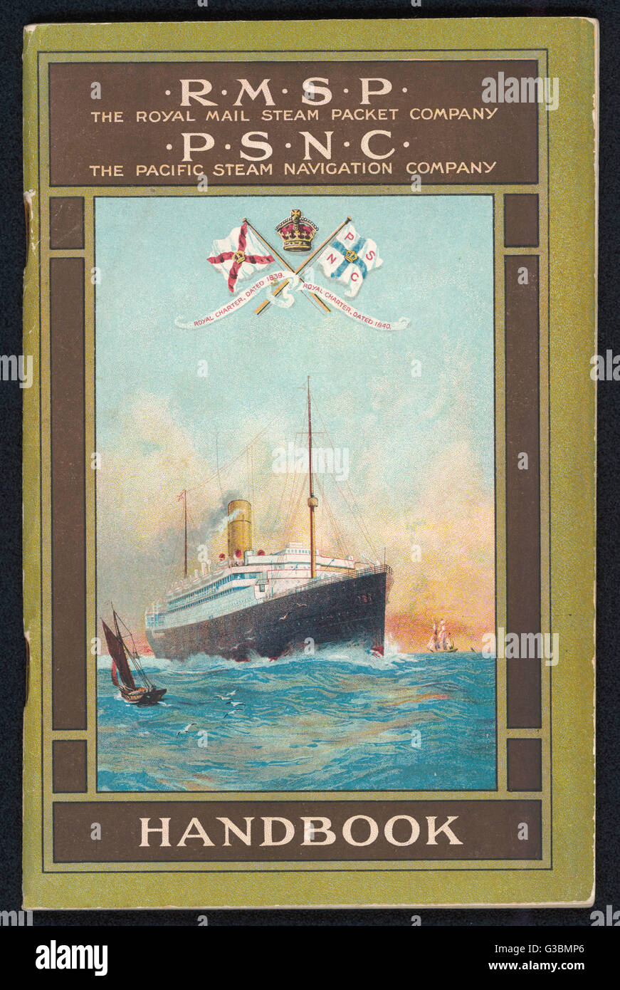 Brochure for the Royal  Mail Steam Packet Company and  the Pacific Steam Navigation  Company.       Date: 1912 - Stock Image