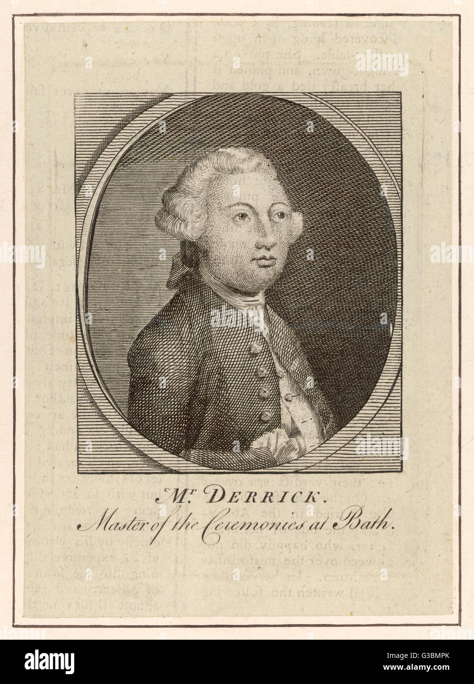 SAMUEL DERRICK Poet, and Master of Ceremonies  at Bath.        Date: 1724 - 1769 - Stock Image