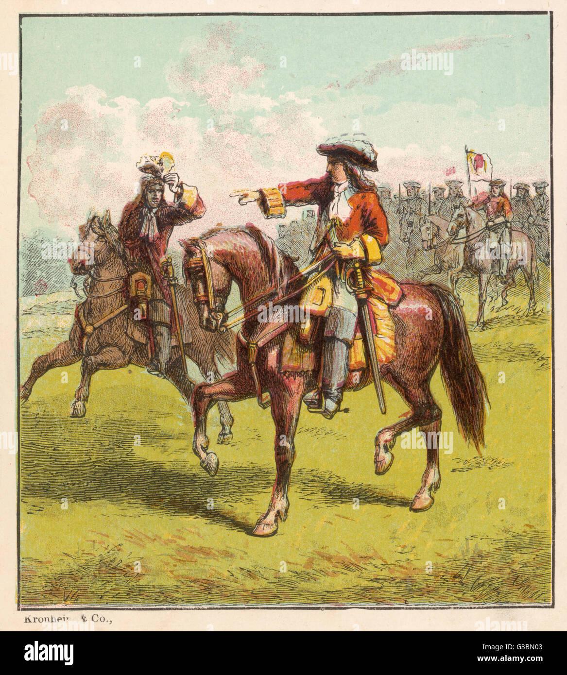 JOHN CHURCHILL, Duke of  Marlborough on horseback at  the battle of Blenheim        Date: 1650 - 1722 - Stock Image