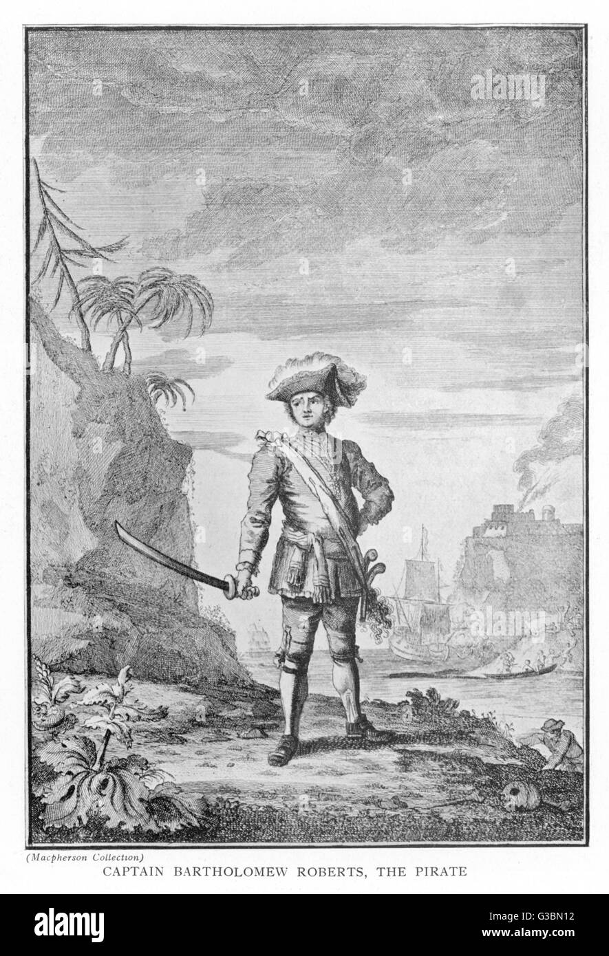 BARTHOLOMEW ROBERTS  Captain Roberts, the pirate  with sword in hand and tricorn hat      Date: Circa 1721 - Stock Image