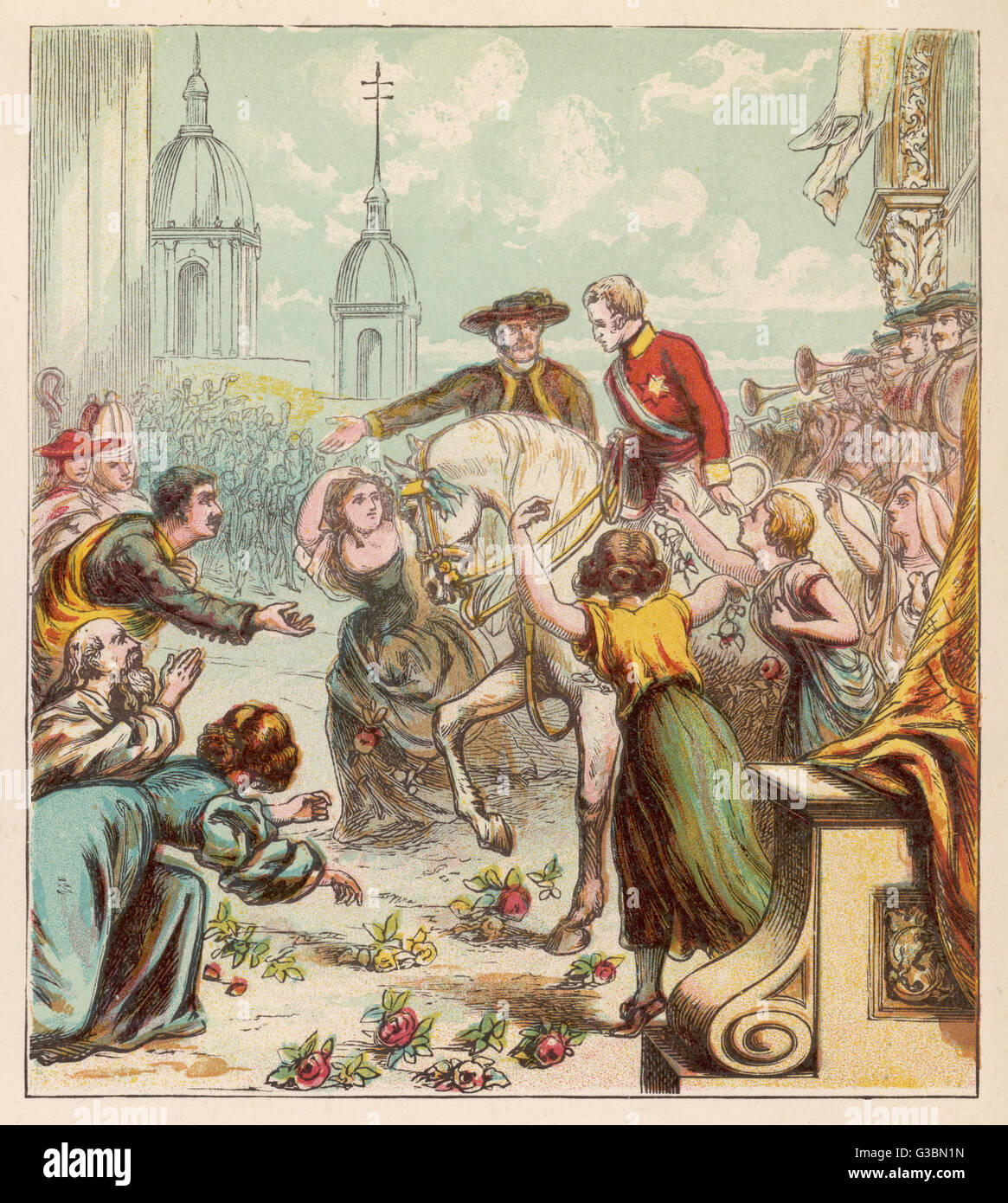 The Duke of Wellington enters  Madrid at the head of the  British army having driven the  French out, and is welcomed - Stock Image