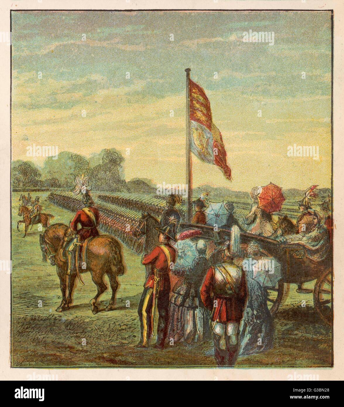 Great review of 80,000  Volunteers by Queen Victoria  in Hyde Park        Date: 1860 - Stock Image