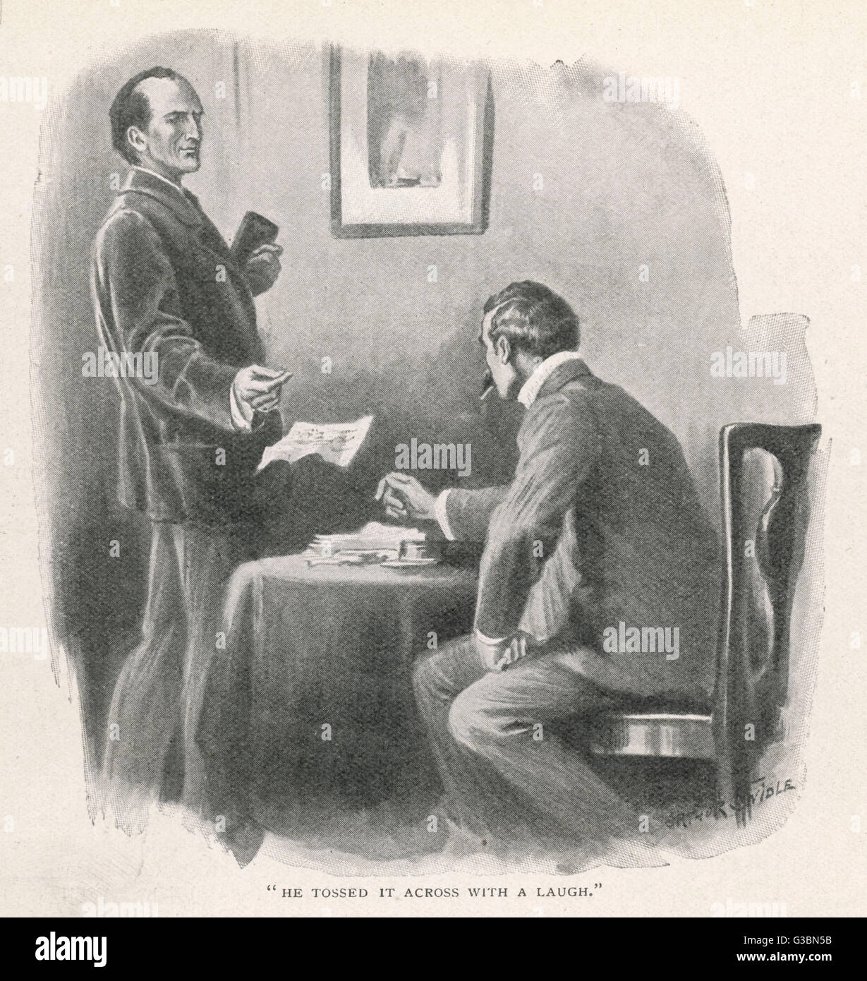 A REMINISCENCE OF MR. SHERLOCK  HOLMES (later retitled The  Adventure of Wisteria Lodge).  Holmes tossed the telegram - Stock Image