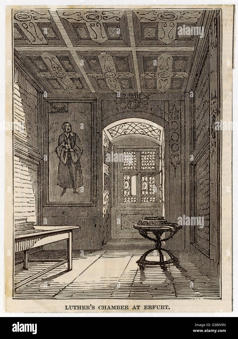 Luther's rooms at Erfurt.          Date: 1483 - 1546 - Stock Image
