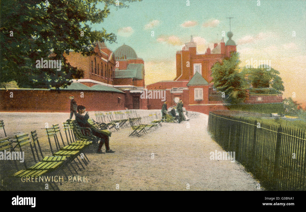 Deckchairs are laid out at the  Greenwich Observatory for  spectators to take in the  splendid view down to the - Stock Image