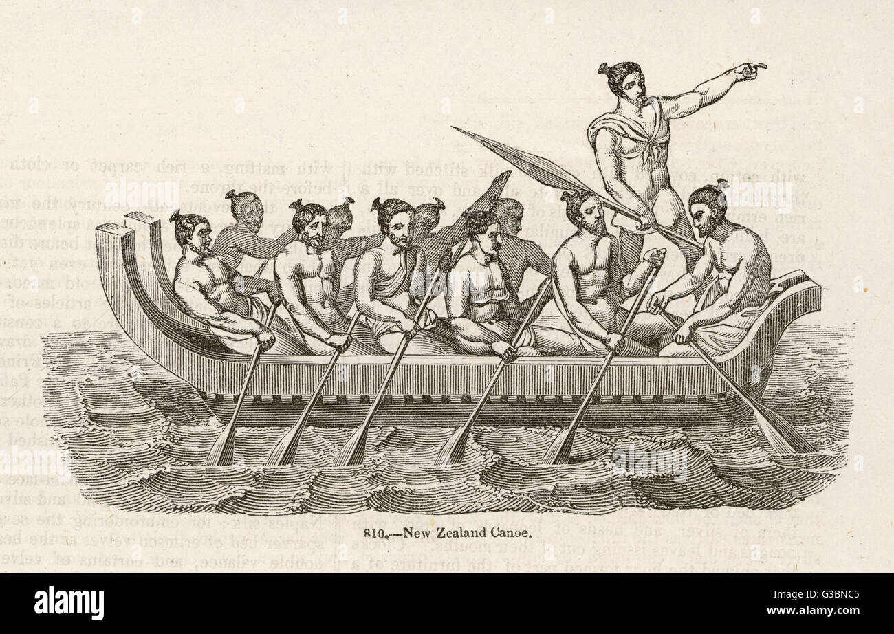 A canoe of New Zealand  carrying eleven men.         Date: 19th century - Stock Image