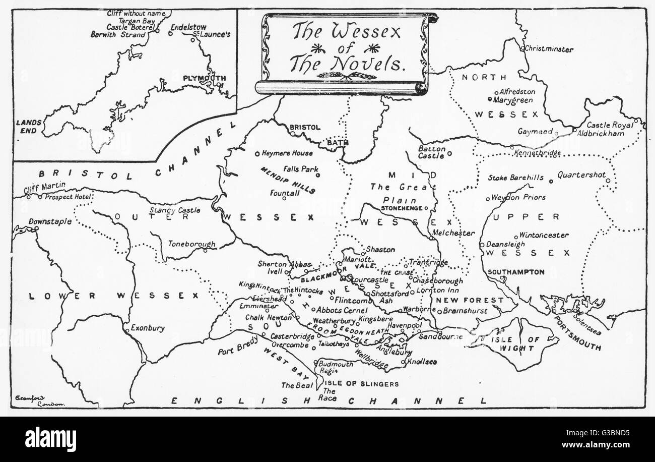 A map of the Wessex of the  novels.         Date: First Published: 1872 - Stock Image