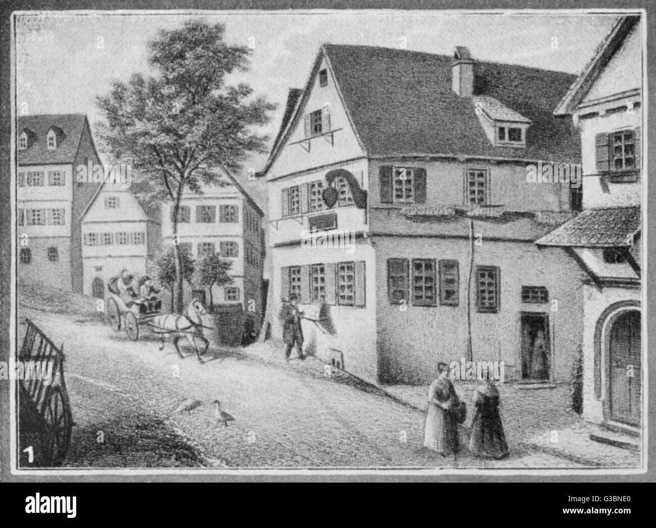 FRIEDRICH VON SCHILLER  Birth place of the German  writer, poet and historian in  Marbach (Southern Germany).   - Stock Image