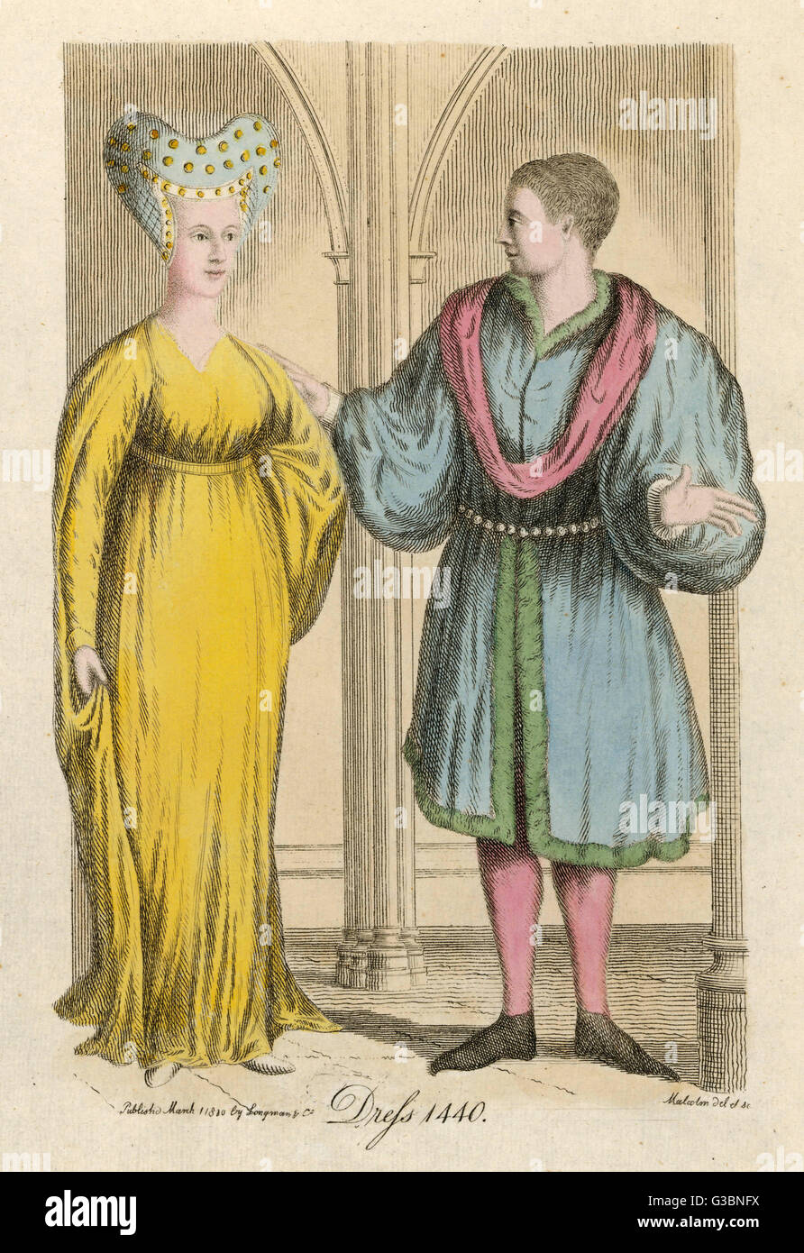 The costume of the mid 15th  century.         Date: 1440 - Stock Image