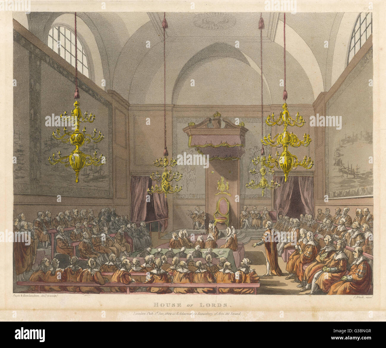 A debate in the House of  Lords, previous to the destruction of the old Palace  of Westminster in the fire of  1834. - Stock Image
