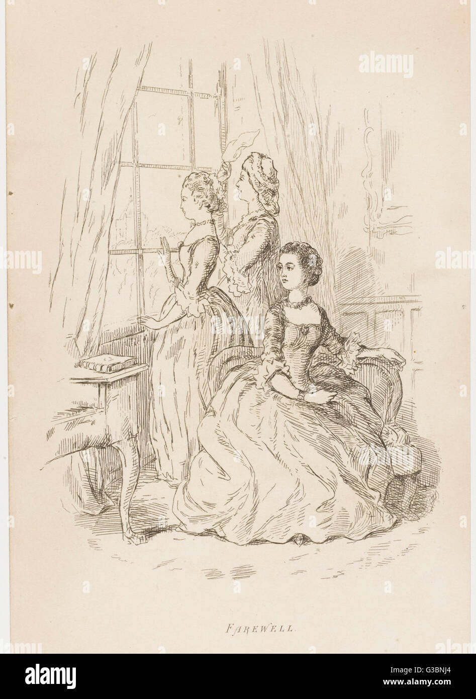 THE VIRGINIANS  The ladies stand at the  window, waving farewell to the gentlemen      Date: first published : 1858 Stock Photo