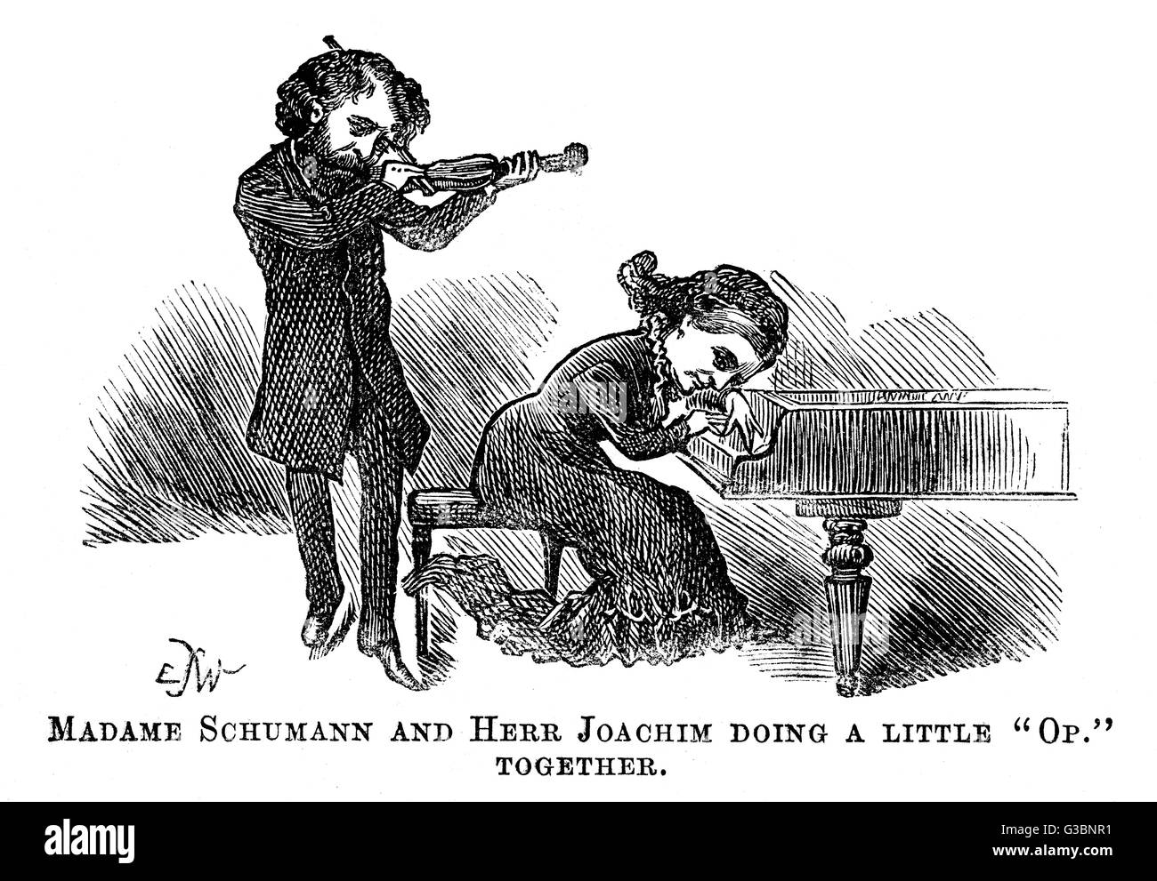 Clara Schumann and Joachim doing a little 'Op'  together. She plays the piano, he plays the violin.     - Stock Image