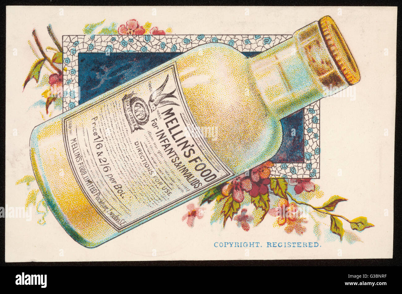 Mellin's Food -  for infants and invalids.        Date: late 19th century? - Stock Image