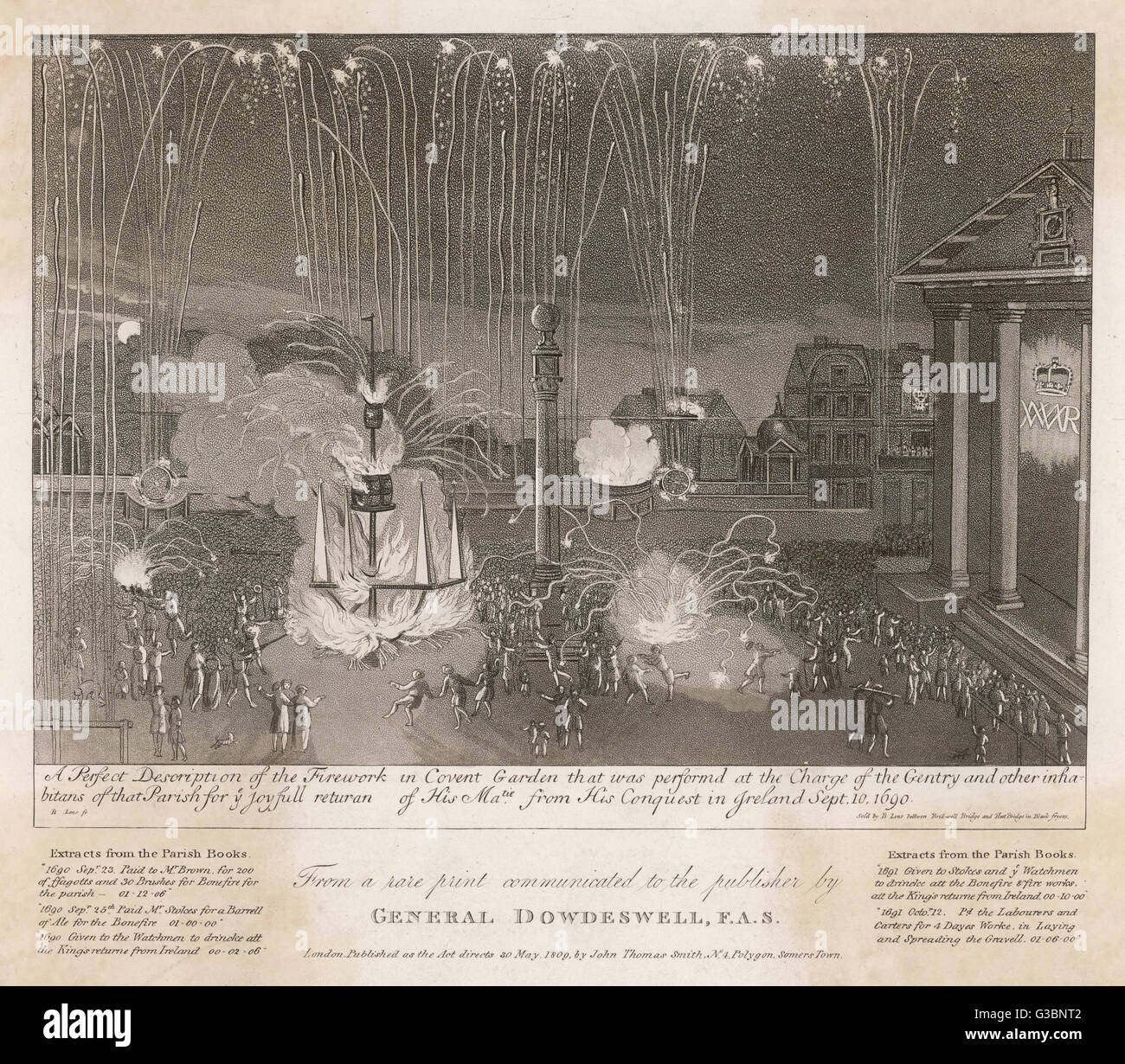 Firework display given by the  gentry & folk of Covent Garden  to commemorate the return of  the victorious Stock Photo