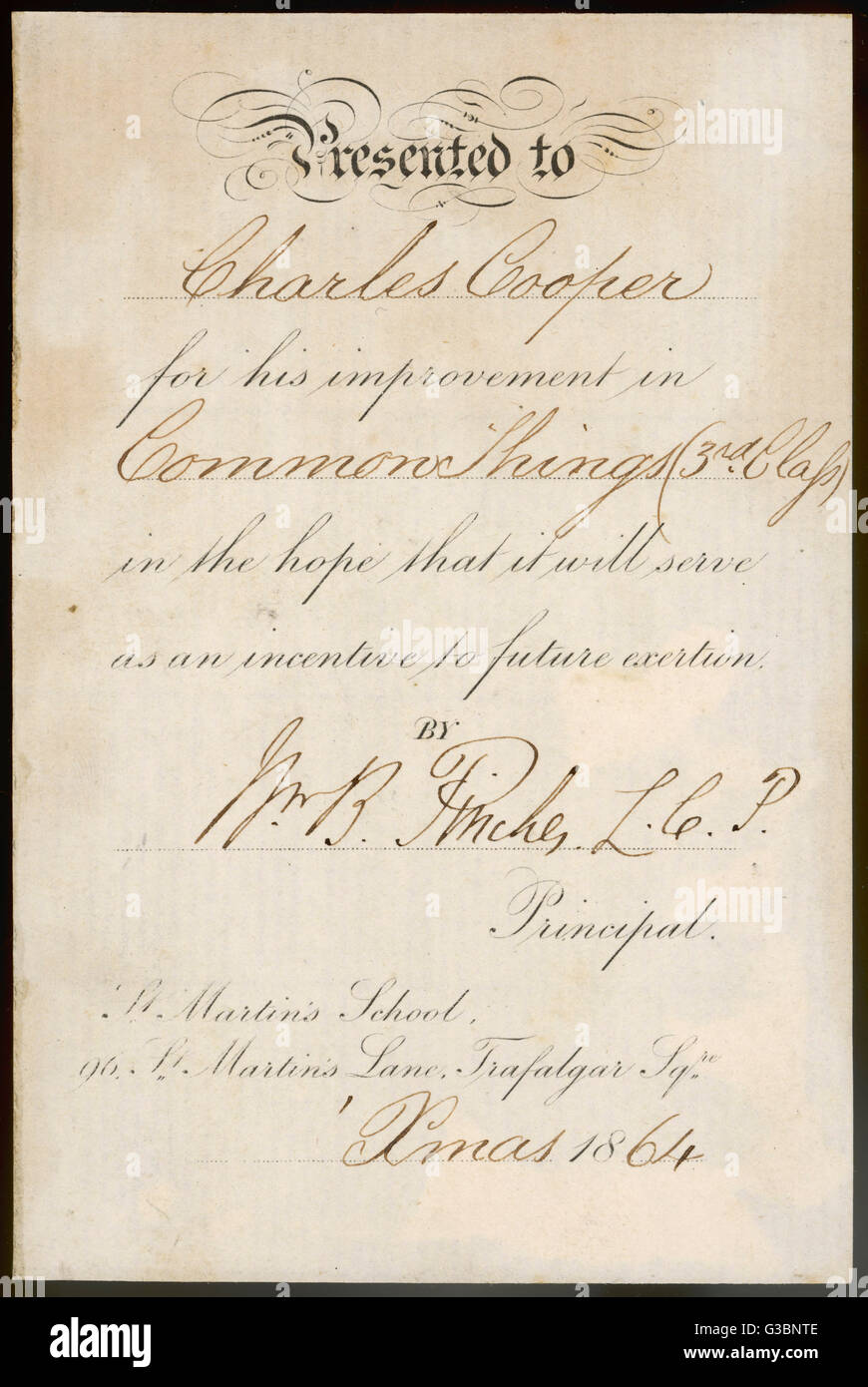 A Small Prizewinners Certificate Or Bookplate Awarded To Charles