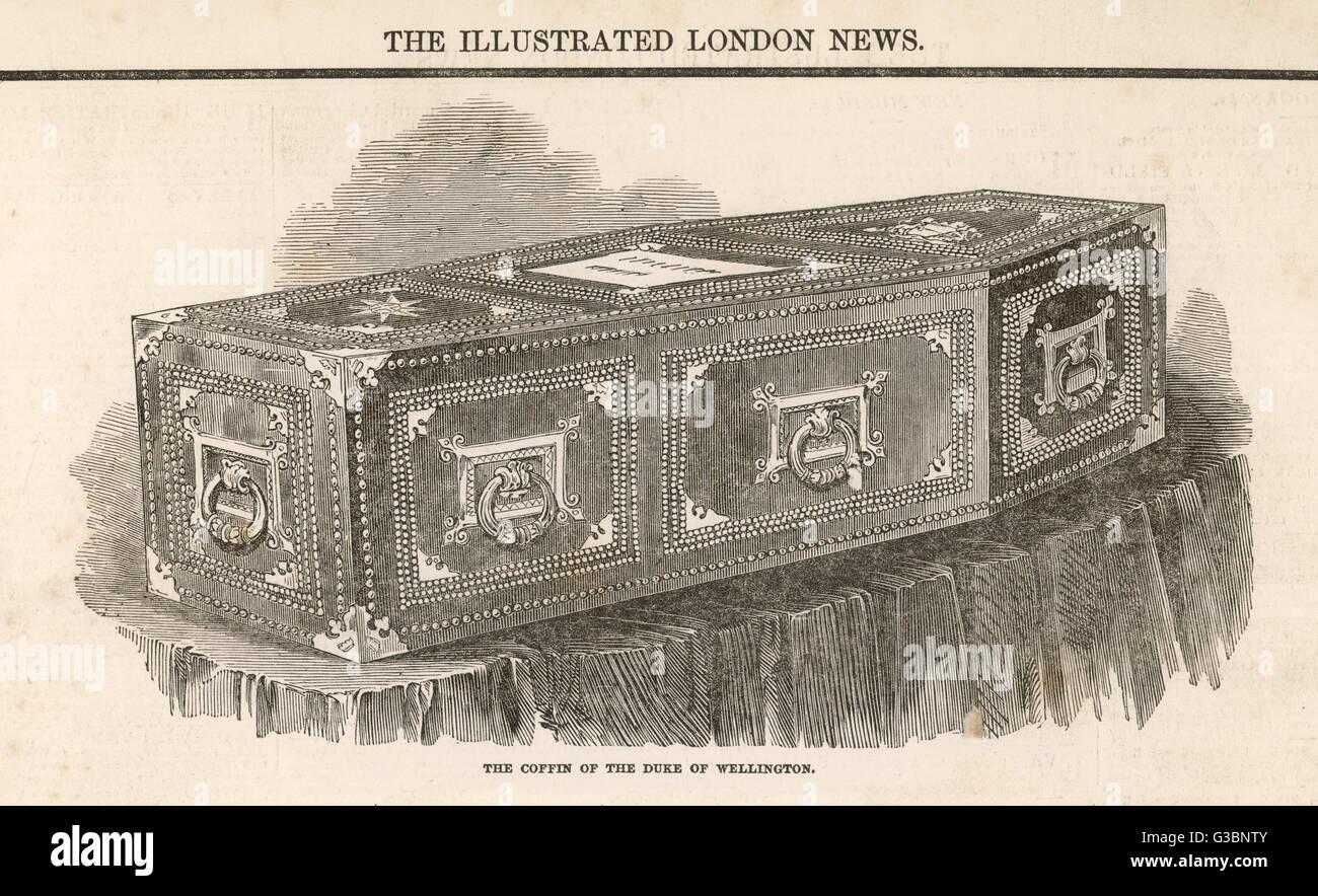 The coffin of the Duke of  Wellington.         Date: 1852 - Stock Image