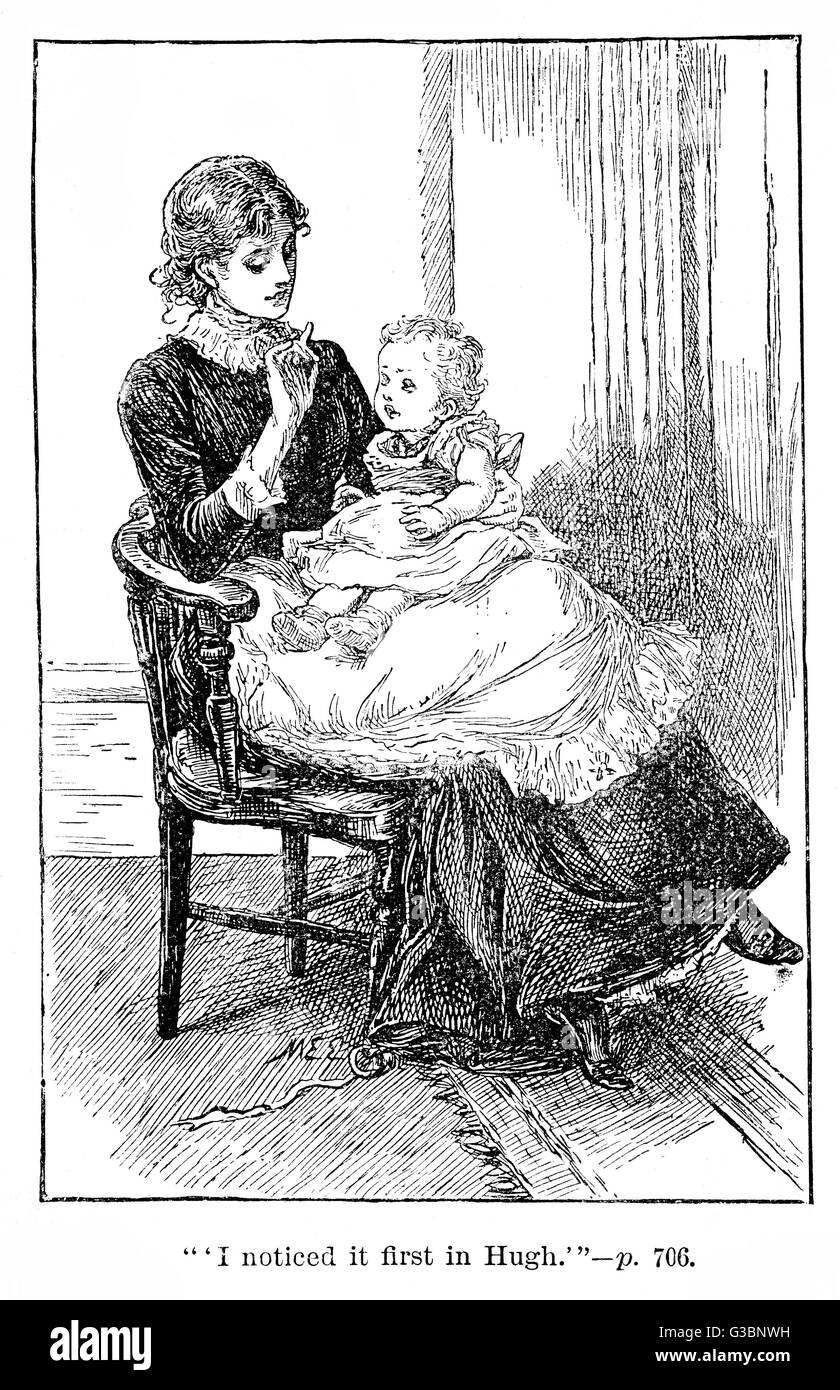 A young mother, with baby on  her lap, looks down tenderly  as she holds up a finger to  interest the child. Perhaps - Stock Image