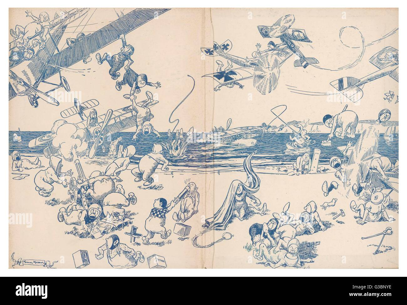 Illustration 2/2  A comical cartoon showing  elves or possibly pixies  getting into mischief with  various aircraft - Stock Image