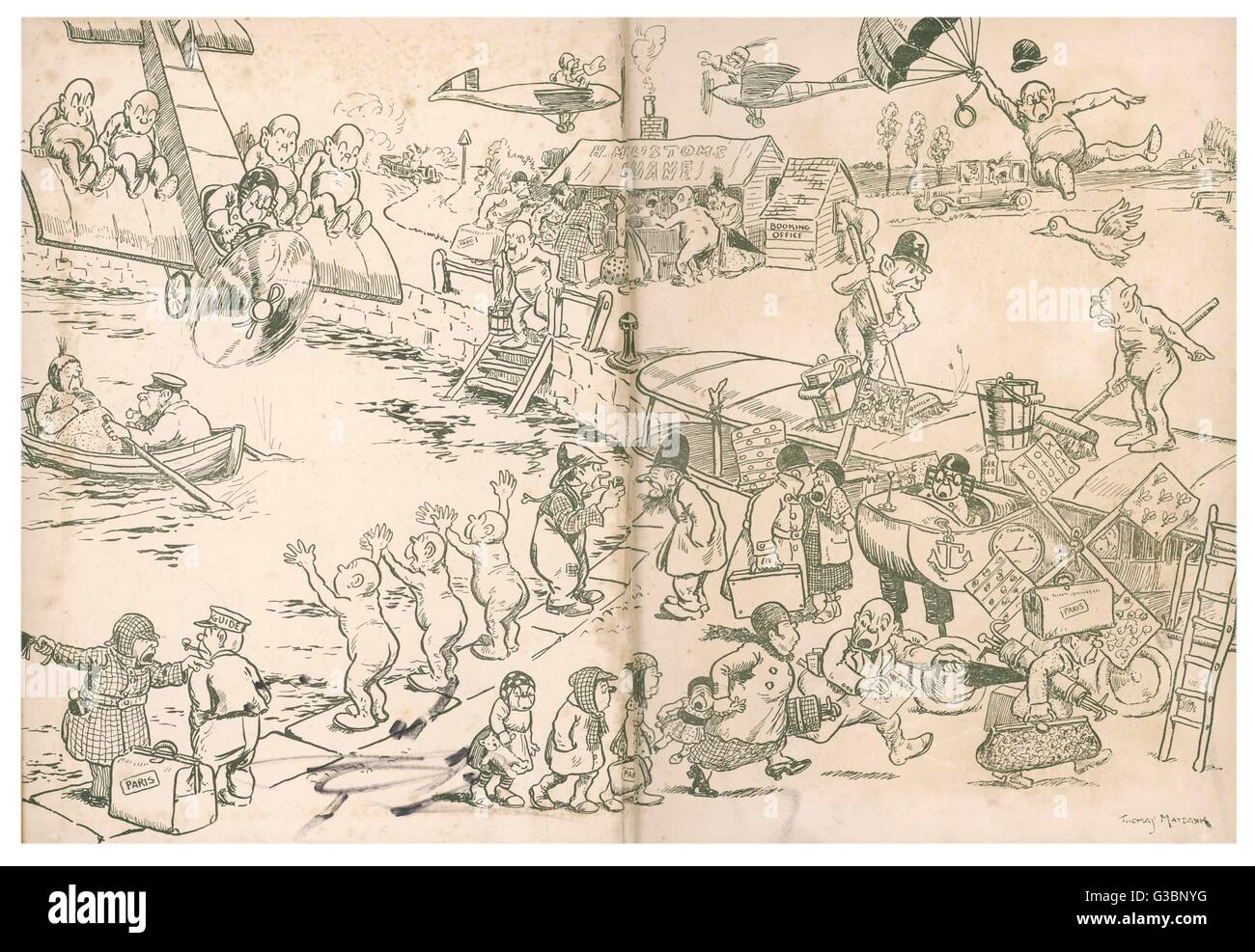 Illustration 1/2 A comical cartoon showing  elves or possibly pixies getting into mischief with  various aircraft - Stock Image