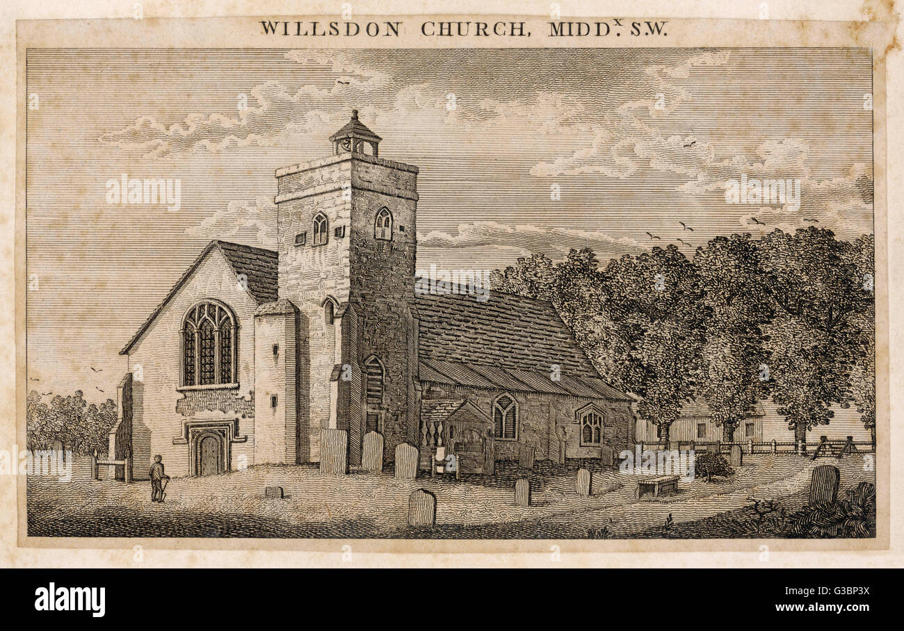 Willsdon Church, Middlesex. The church was first mentioned in 1181 but wasn't recorded as St. Mary's until - Stock Image