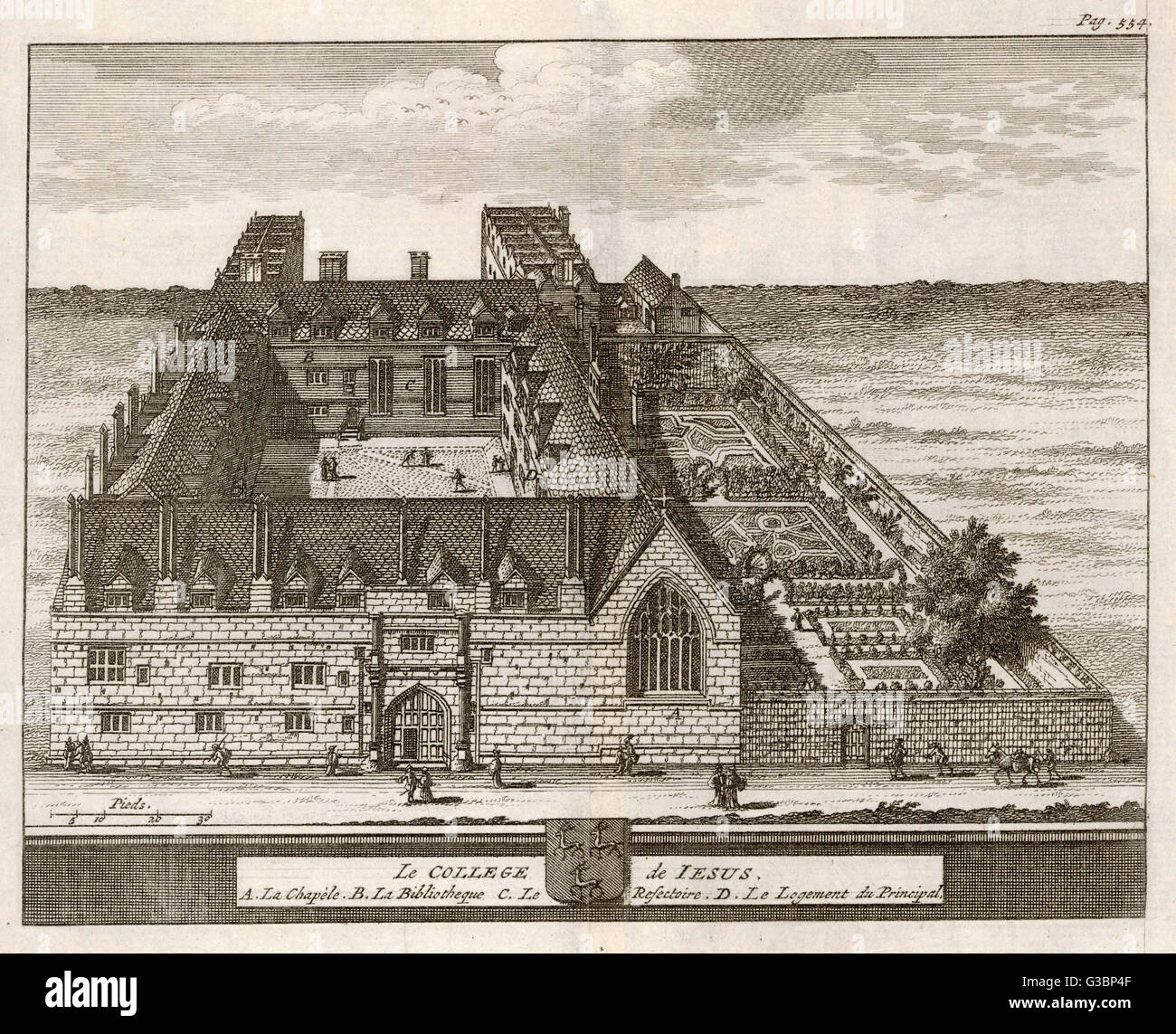 A bird's-eye view of the college showing the chapel, dining  hall, library, the Dean's  lodgings & - Stock Image