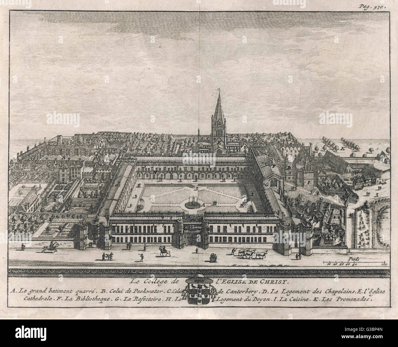 A bird's-eye view of the college showing Tom Quad, Peckwater  Quad, Cathedral Church,  Chaplain's lodgings, - Stock Image