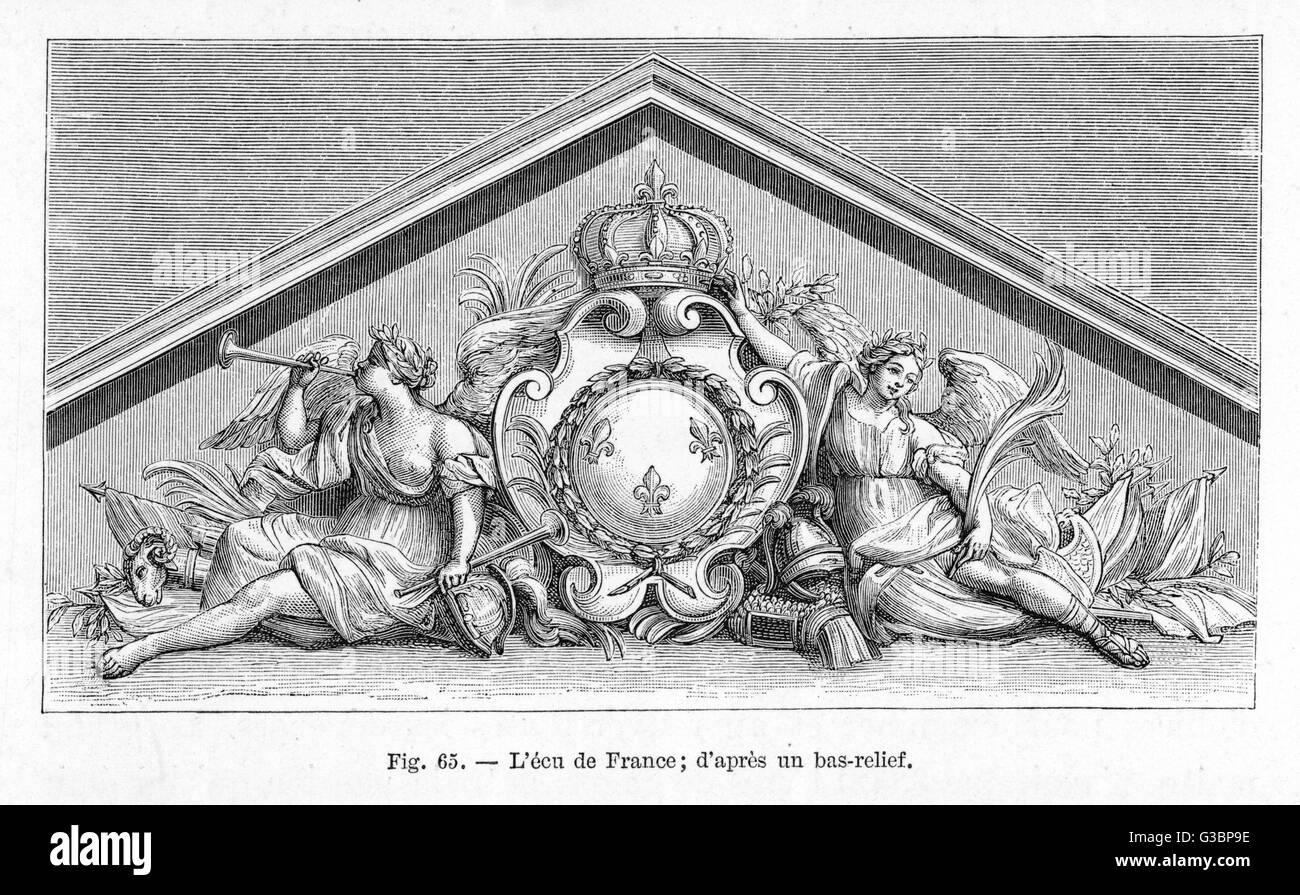 The coat of arms or shield of  France incorporated into a  classical style pediment in  bas-relief.       Date: - Stock Image