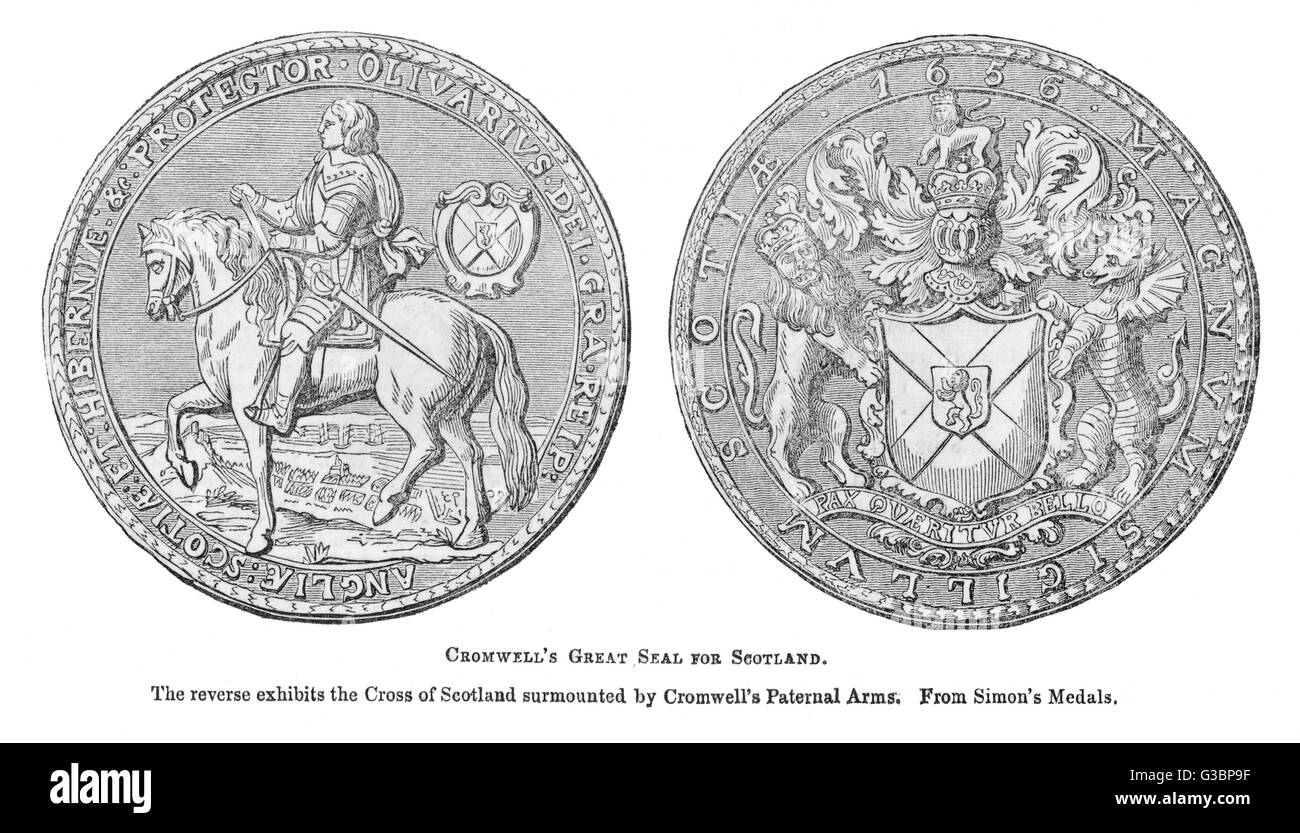 Cromwell's Great Seal for  Scotland with his likeness on  one side and Scotland's Saint  Andrews Cross surmounted - Stock Image