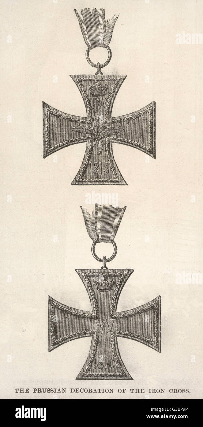 Two Examples Of The Prussian Decoration Of The Iron Cross One From