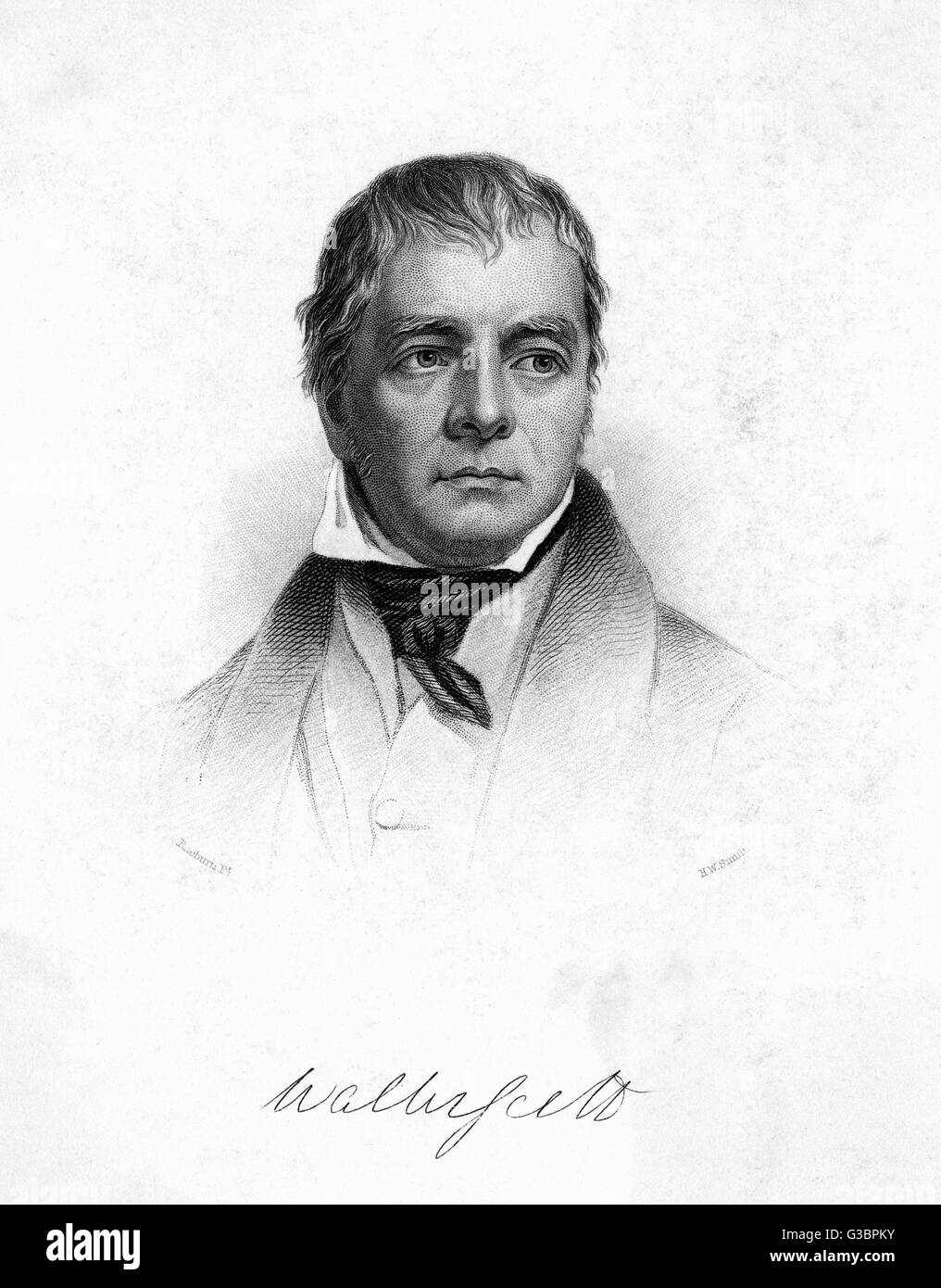 SIR WALTER SCOTT  with his autograph        Date: 1771 - 1832 - Stock Image