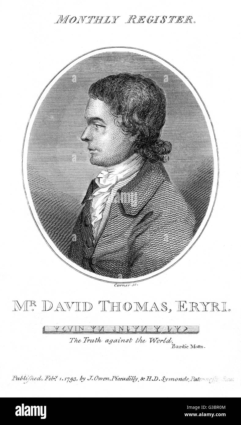 DAVID THOMAS Welsh poet who took the bardic  motto 'The Truth against the  World'.       Date: 1760 - 1822 - Stock Image