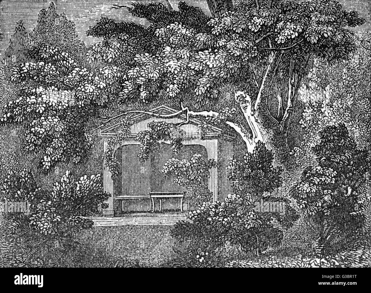 The arbour or alcove in the  garden of the cottage in Kew  (or Kew-foot) Lane, near  Richmond, Surrey, where the - Stock Image