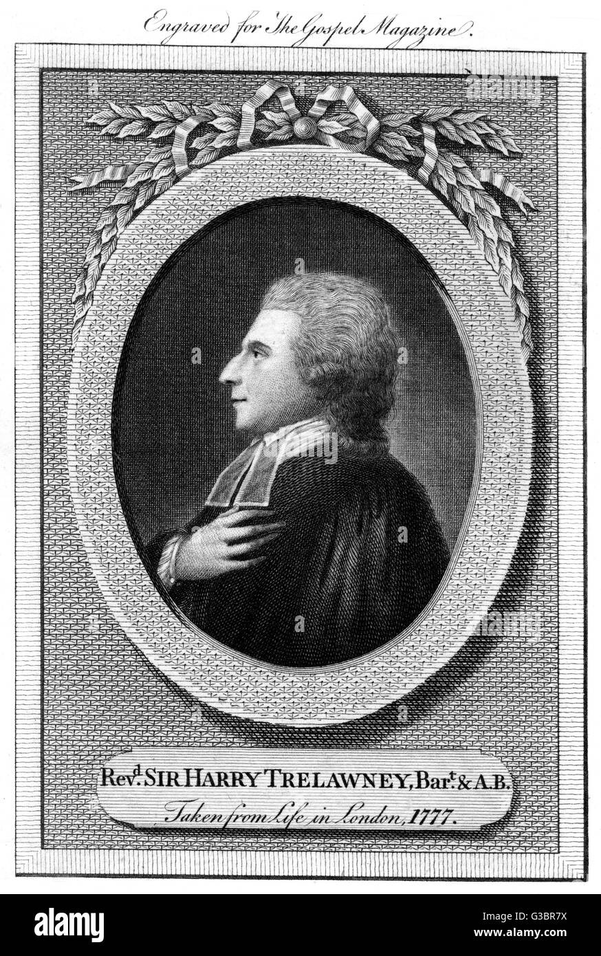 SIR HARRY TRELAWNY churchman - a rare example of  a titled preacher.  As a child  his portrait was painted by  Joshua - Stock Image