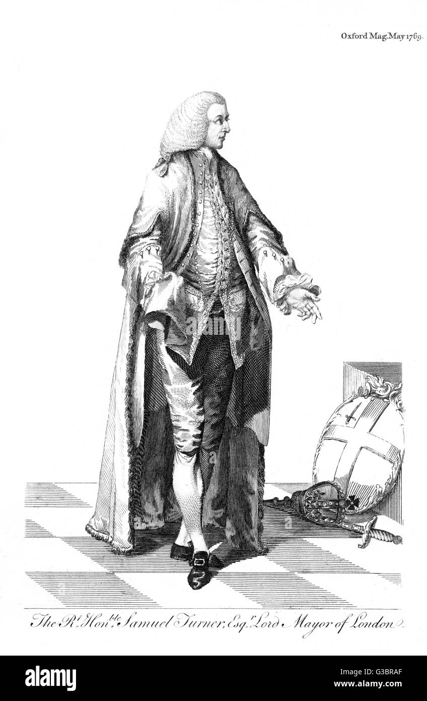 SAMUEL TURNER Lord Mayor of London in 1769         Date: CIRCA 1769 - Stock Image