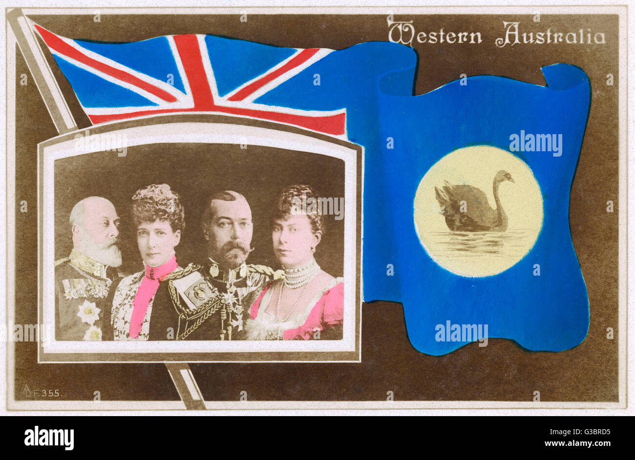 Flag of Western Australia with portraits of British Royalty     Date: circa 1910 - Stock Image