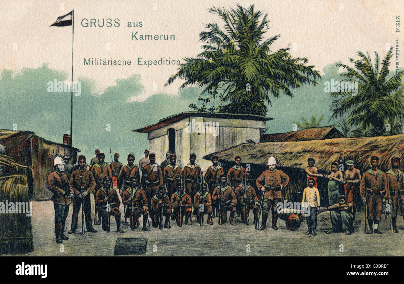 Cameroon, Africa - Germany Military Expedition.     Date: circa 1905 - Stock Image
