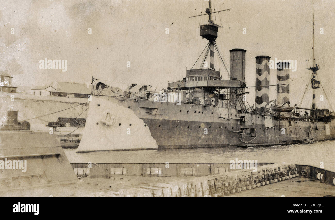 Camouflaged Monmouth class cruiser