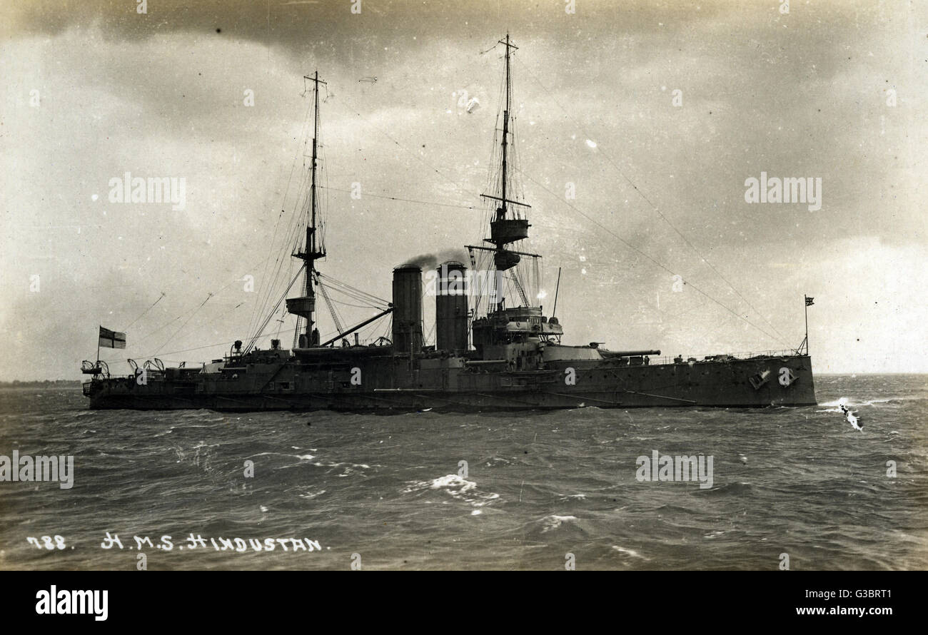 HMS Hindustan, King Edward VII class British pre-Dreadnought battleship.      Date: circa 1910 - Stock Image
