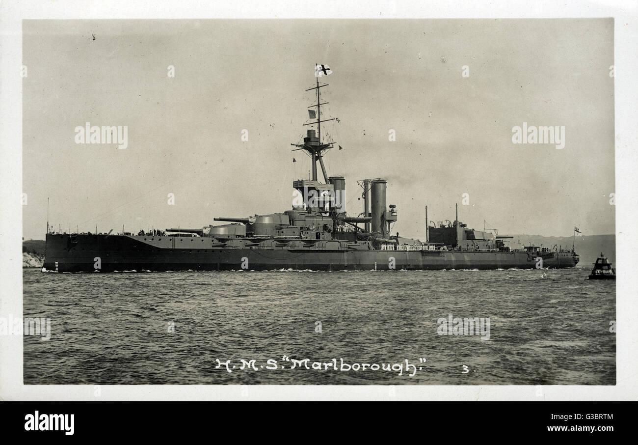 HMS Marlborough, British Iron Duke class battleship.      Date: circa 1914 - Stock Image