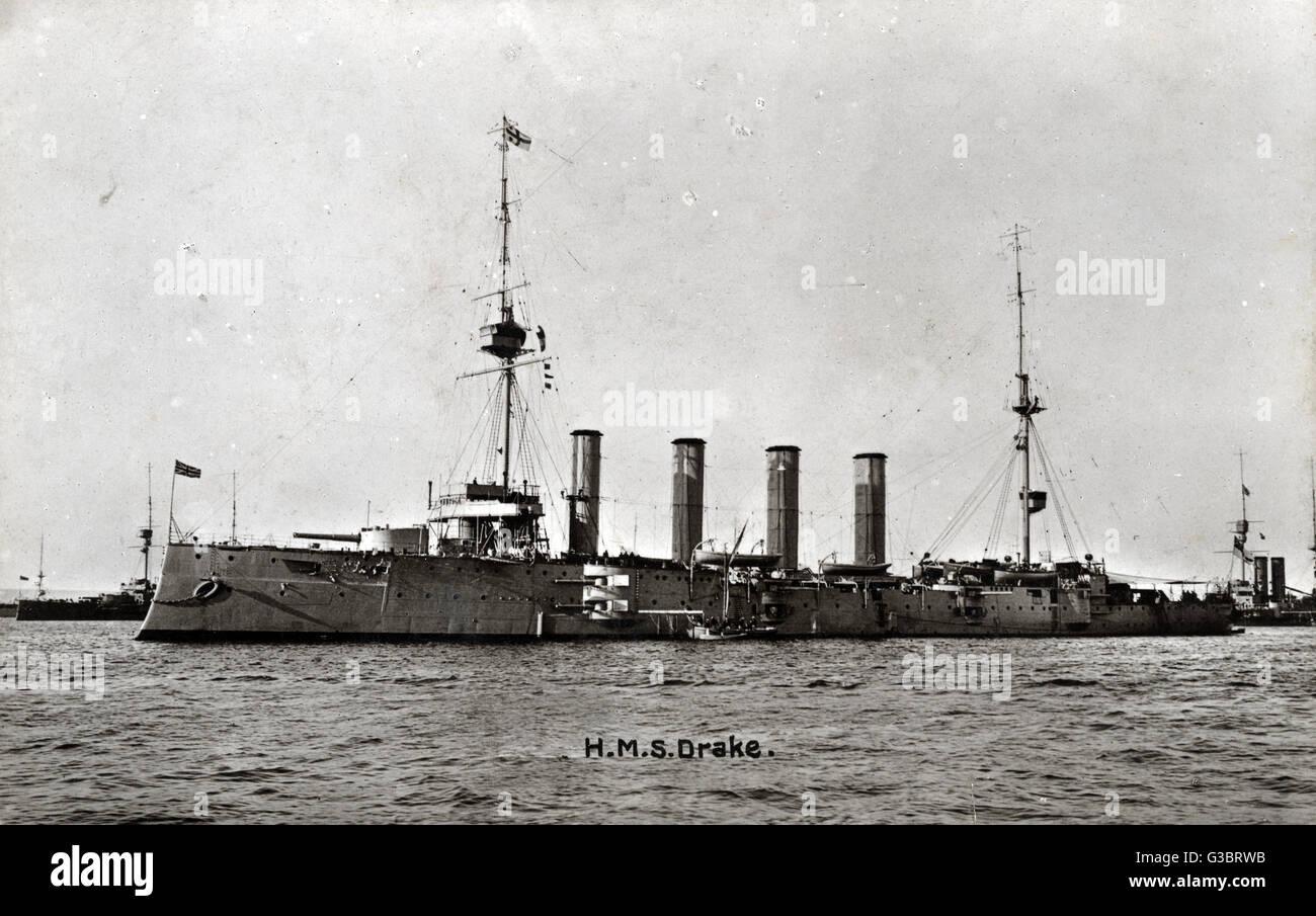 HMS Drake, British protected cruiser.      Date: circa 1908 - Stock Image