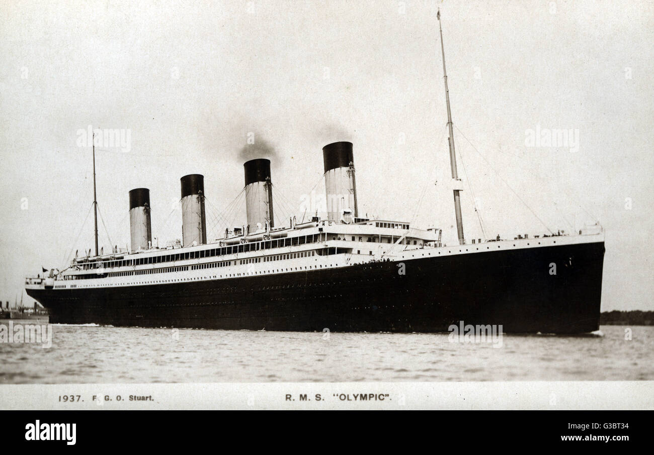 RMS Olympic, cruise ship of the White Star Line.   circa 1910s - Stock Image