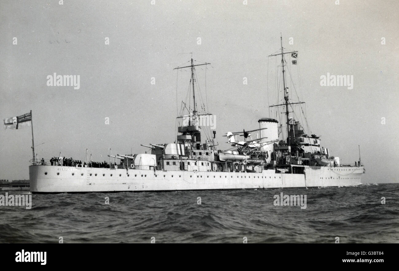 HMS Achilles (70), British light class cruiser which served with the Royal New Zealand Navy during the Second World War.  Seen here with a seaplane on board.      Date: 1939 Stock Photo