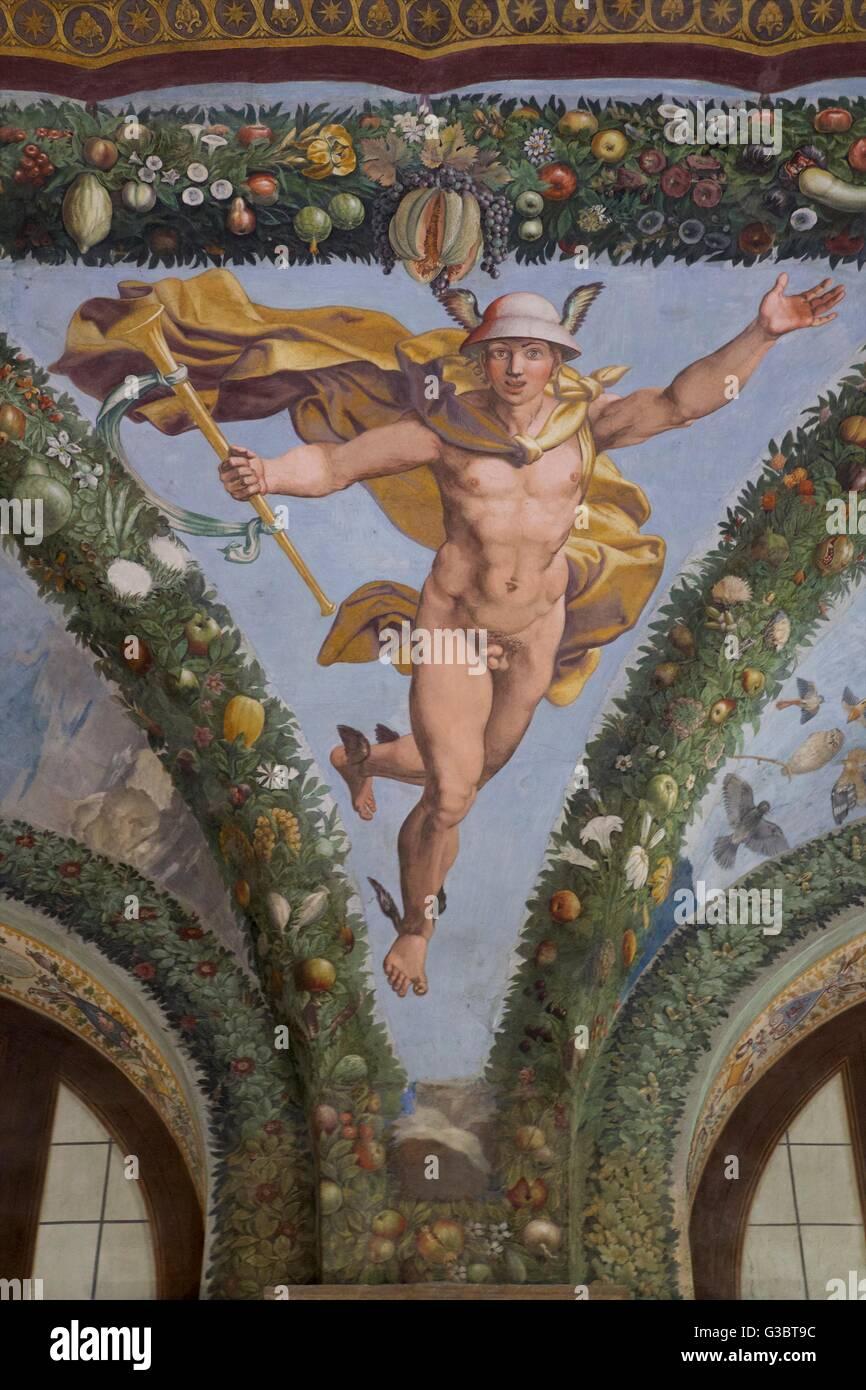 Mercury, 1517-1518, Loggia of Cupid and Psyche, Villa Farnesina, Rome, Italy, Europe Stock Photo