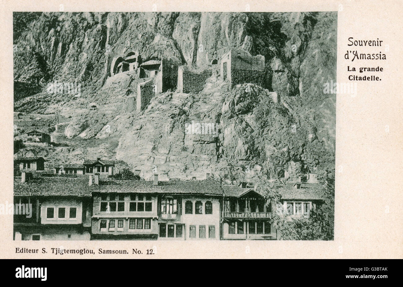 An extremely rare postcard showing Amasya, Turkey. Mountainous city on the Black Sea coast famous for apples and - Stock Image