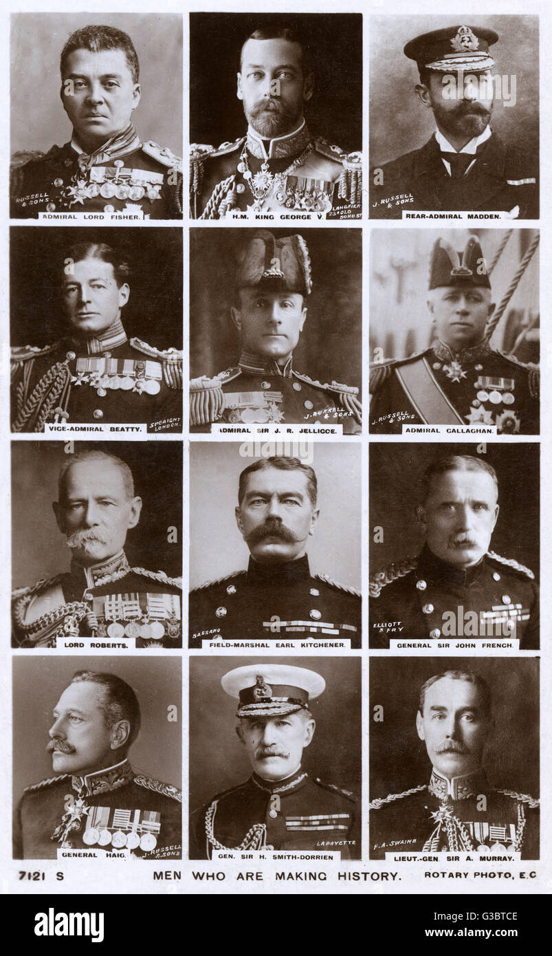 World War One commemorative postcard, Men who are making history.  With portraits of King George V, Admirals Fisher, - Stock Image