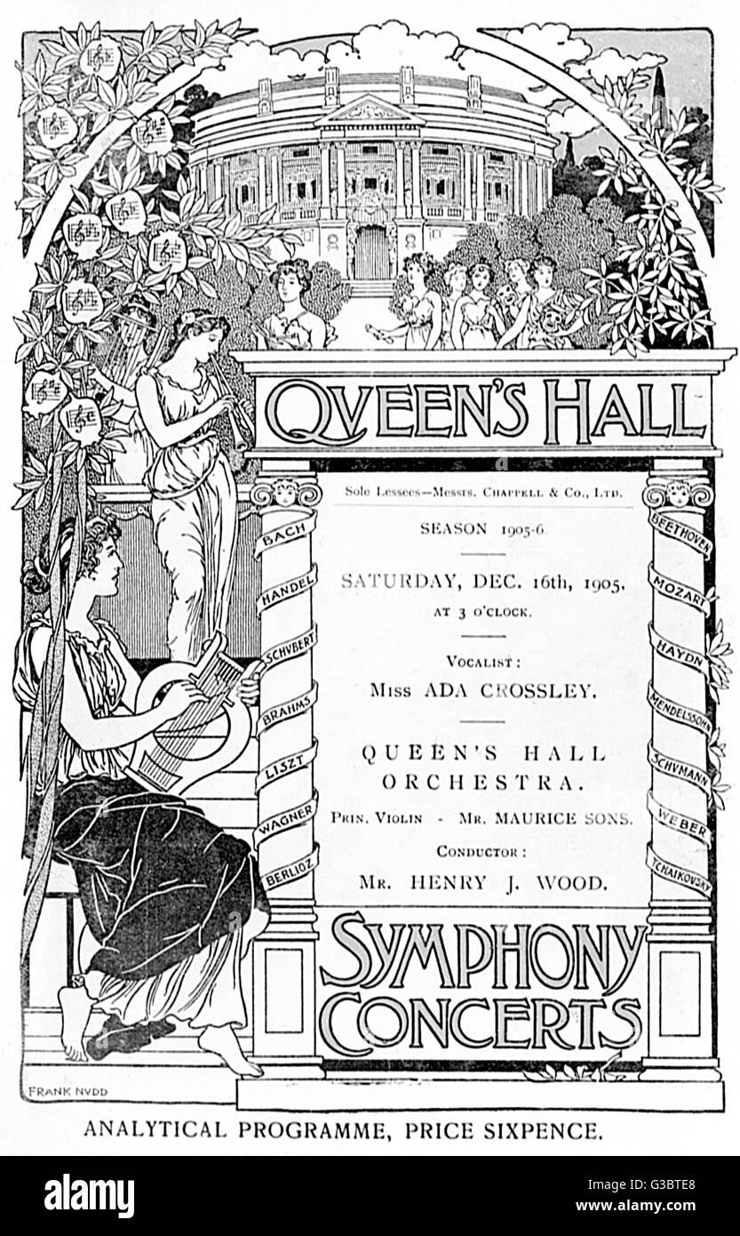 Programme cover, Queen's Hall Symphony Concerts, 16 December 1905, vocalist Miss Ada Crossley, Queen's Hall - Stock Image