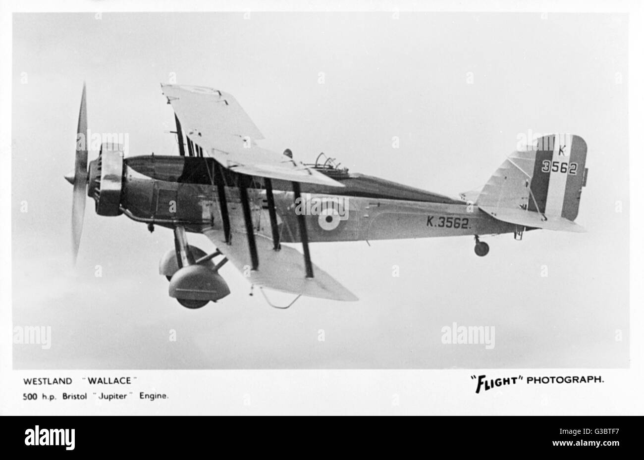 Westland Wallace British two-seat biplane K3562 with a 500hp Bristol Jupiter engine.      Date: 1933 - Stock Image